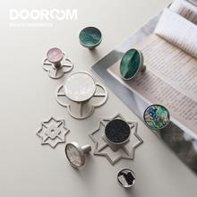 Dooroom Brass Furniture Handles Colorful Shell Matt Brushed Nickel Silver Hooks Wardrobe Dresser Cupboard Cabinet Drawer Knobs