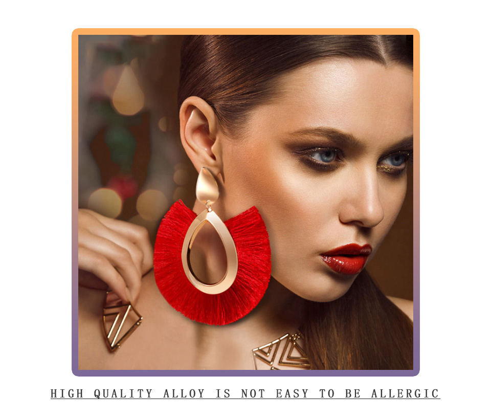 H172825074e9d41789eb987877729a962w - BLINLA Fashion Bohemian Big Tassel Dangle Drop Earrings for Women Statement Wedding Red Fringe Female Earrings Za Jewelry
