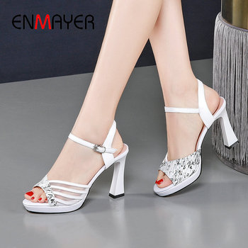 ENMAYER Genuine Leather Buckle Strap Womens Shoes 2020 Luxury Shoes Women Designers Casual Synthetic Mixed Colors High Heels