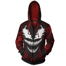 DM COS 2019 New Explosion Marvel  Venom Spider Mens Halloween Costume 3D Printing Zipper Cardigan Hooded Sweater Cosplay Anime