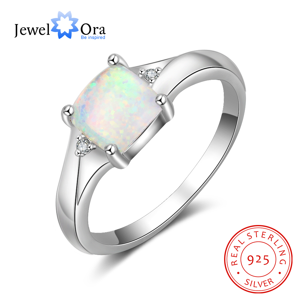 JewelOra Square Created White Opal Stone 925 Sterling Silver Rings for Women Elegant Female Finger Ring Silver 925 Fine Jewelry
