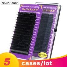 NAGARAKU pestañas de visón falso individuales, 5 cajas, 7mm 16mm, JBCD, suaves, naturales, cilios