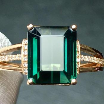 Fine Jewelry Real Pure 18 K Gold Jewelry 100% Natural Green Tourmaline Gemstones 2.9ct Diamonds Male's Wedding Fine Man's Rings 1