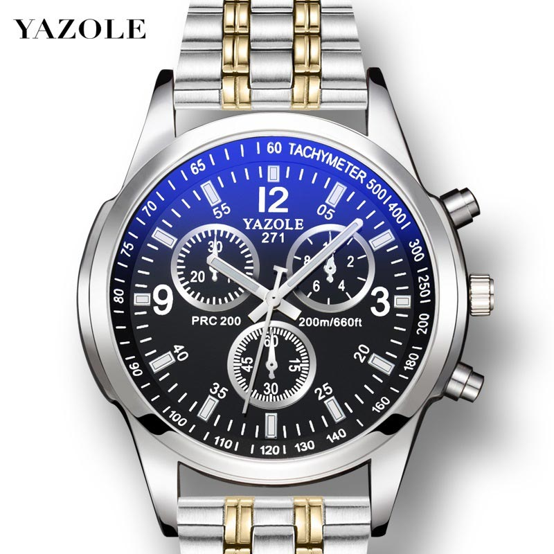 YAZOLE Mens Watches Clock Band Business Stainless-Steel Classic-Design Waterproof Blue