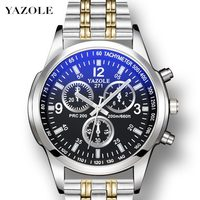Classic Design Mens Watches YAZOLE Blue Ray Quartz Watch Men Stainless Steel Band Waterproof reloj hombre Business Male Clock