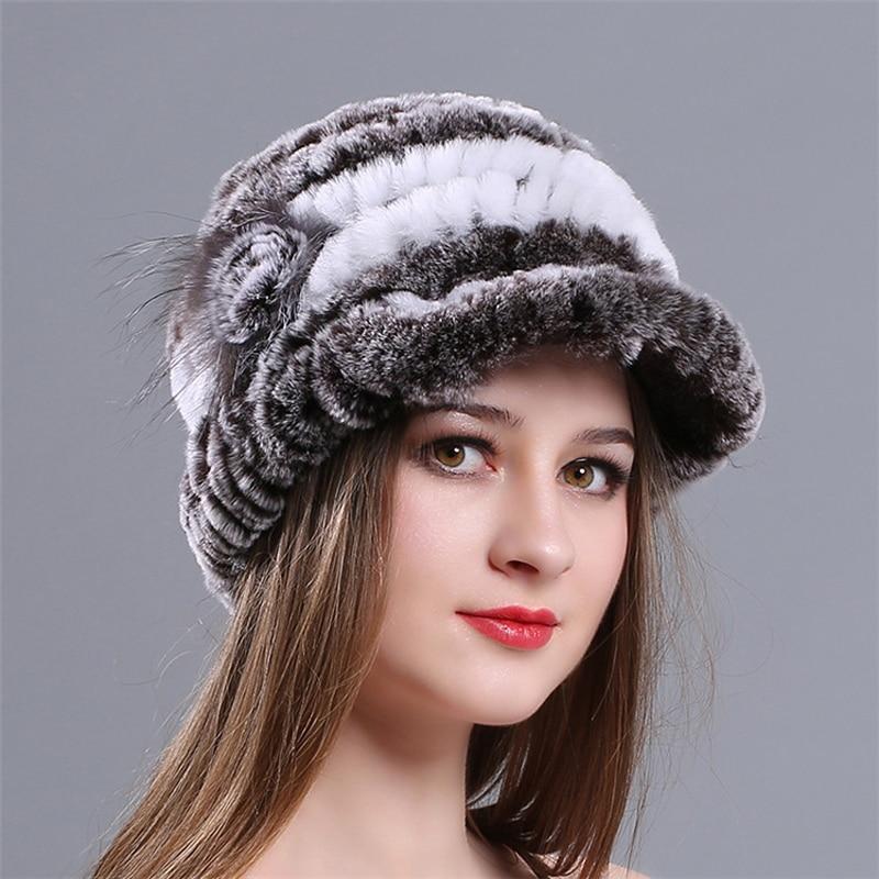 Зимние осенние теплые утепленные меховые шапки повседневные меховые женские русские козырьки шапочки вязаные шапочки Кролик меховой цветок полосатая женская шапка