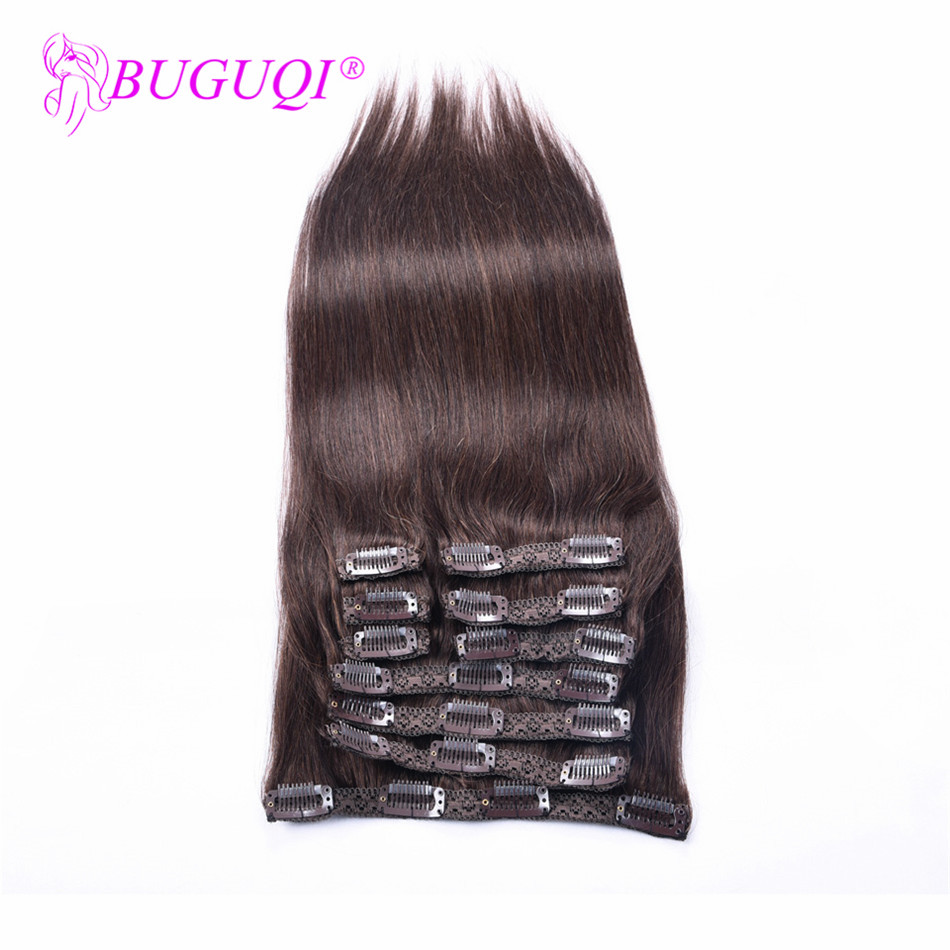BUGUQI Hair Clip In Human Hair Extensions Mongolian #2 Remy 16 To 26 Inch 100g Machine Made Clip Human Hair Extensions