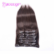 BUGUQI Hair Clip In Human Extensions Mongolian #2 Remy 16 To 26 Inch 100g Machine Made