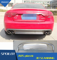 For Audi A5 S5 Body kit spoiler 2009 2015 For Audi A5 RS5 ABS Rear lip rear spoiler front Bumper Diffuser Bumpers Protector