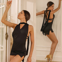 Latin Dance Dress Adults Black Sleeveless Sexy Halter Mini Dresses Tango Salsa Cha Cha Samba Rumba Women Practice Wear DNV11942