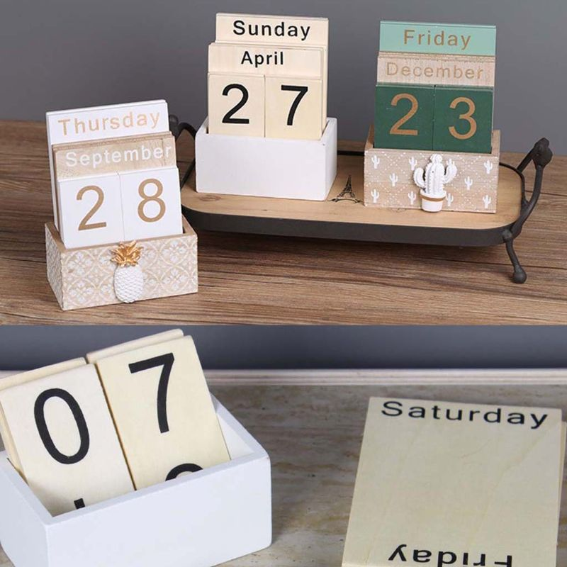 Perpetual Calendar Vintage Wooden Eternal Block Planner Photography Props Month Week Date Display Home Office Desktop Decoration