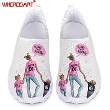 WHEREISART Fashion Super Mama Sxey Mom Girl Baby Prints Women Mesh Shoe