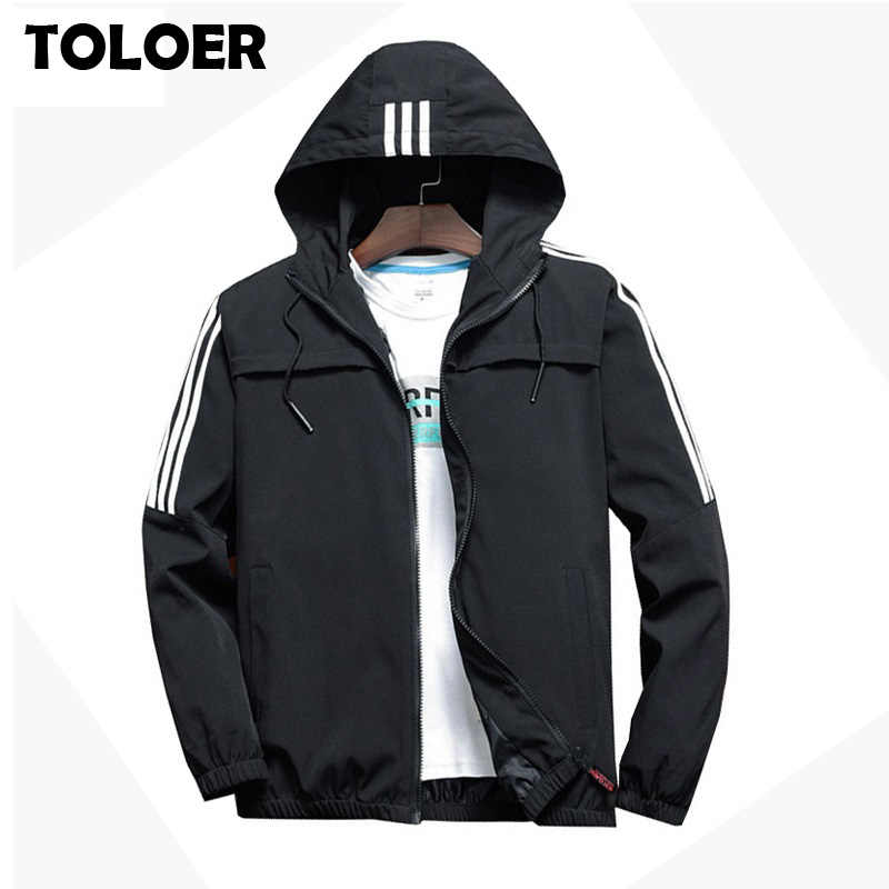 Men's Casual Striped Bomber Jacket Men 2019 New Trend Hoodie Baseball Collar Streetwear Coat Male Fashion Windbreaker Jackets