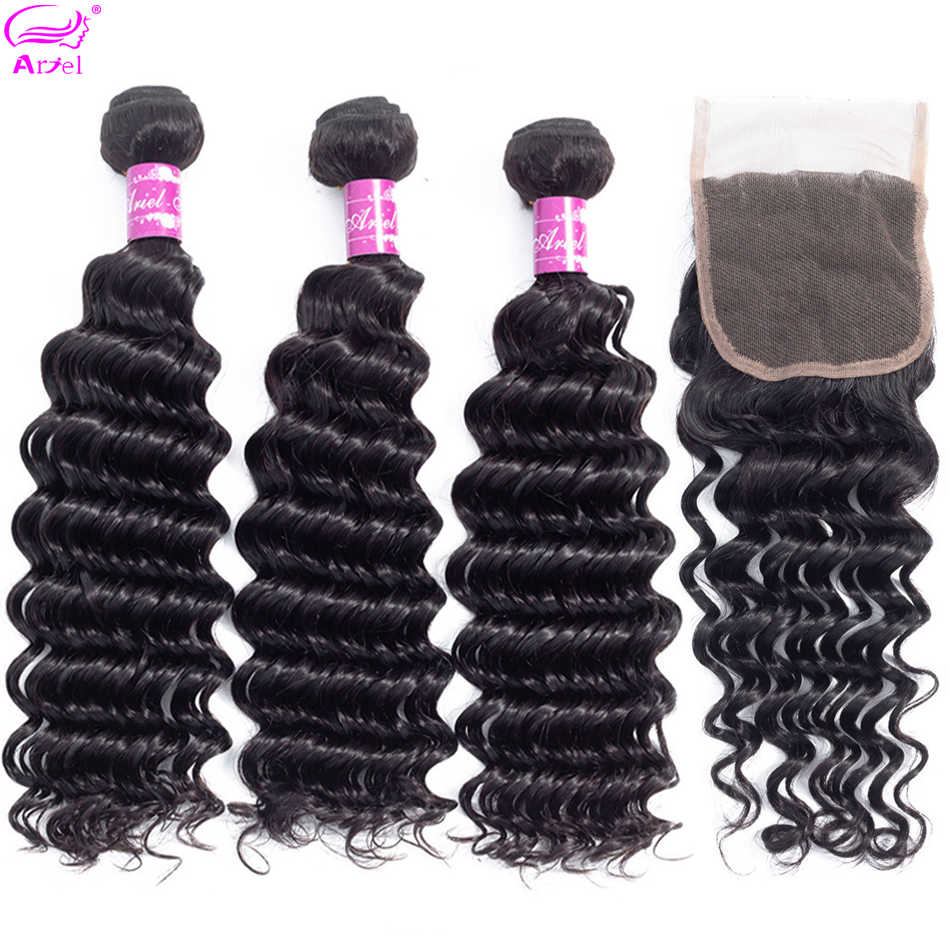 Ariel Brazilian Deep Wave Bundles With Closure 3 Bundles With Closure 4*4 Natural Color Non-Remy Human Hair Bundles With Closure