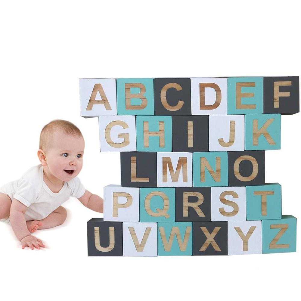 1 Set Solid Wood White+Gray+Green Square Block Baby Learning 26 English Letter Cube Kids Infant Photography Props Children Room
