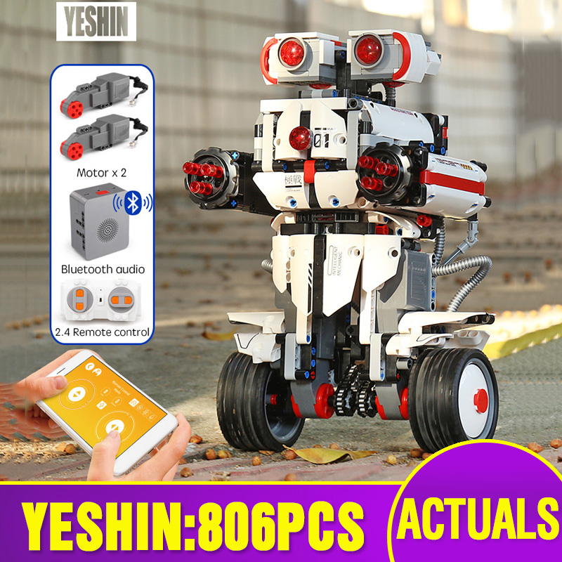 Yeshin App Control Programming Robot With Music Compatible With 31313 Robot Boots Set Building Blocks Bricks Kids Toys Robot Set