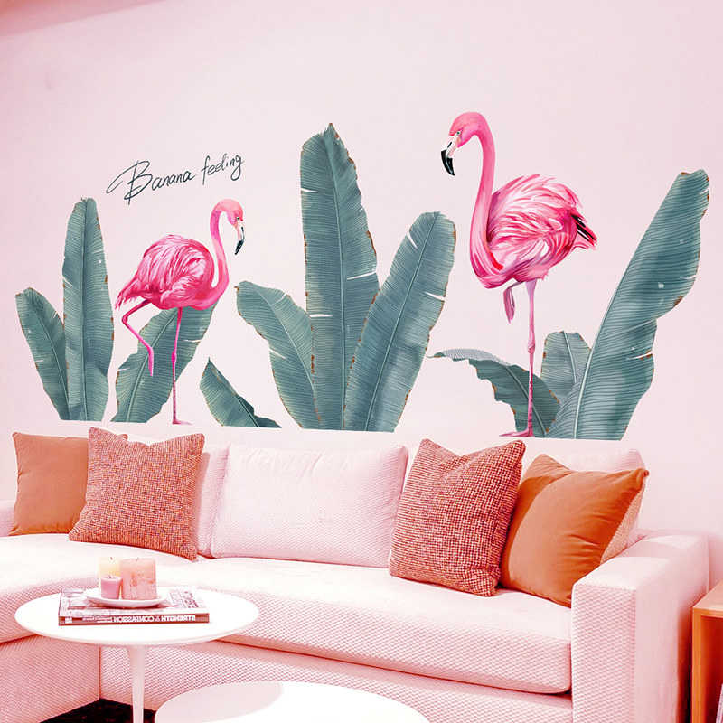 Bananenblad Roze Flamingo Muurstickers Woonkamer Decoratie Vinyl Behang Slaapkamer Diy Muurdecoraties Planten Home Decor