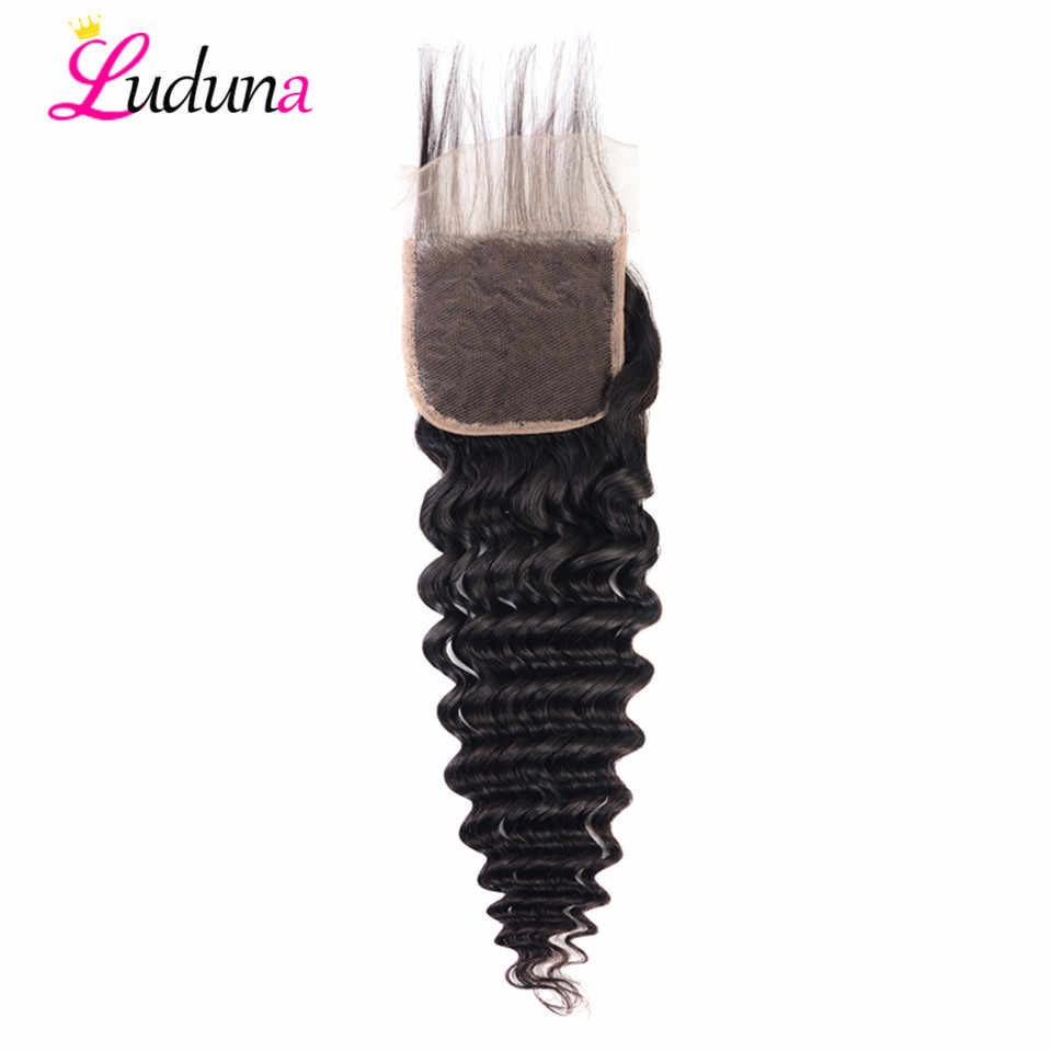 Luduna Deep Wave Human Hair Lace Closure Brazilian Remy Hair 4*4 Closure With Baby Hair Pre Plucked Lace Frontal Closure