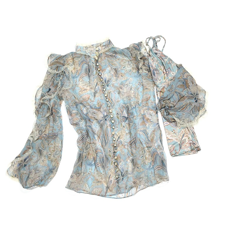 2020 Fall Australia Fashion Style Vintage Lace Patchwork Lantern Sleeve Blue Paisley Print Elegant Loose Blouses and Tops