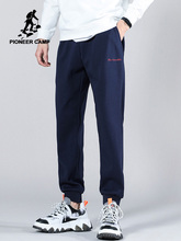 Pioneer Camp lato 100 bawełniane spodnie dresowe mężczyźni Streetwear Hip Hop czarny niebieski jednolity kolor mężczyzna biegacze 2020 AZZ0108060 tanie tanio Ołówek spodnie Na co dzień Elastyczny pas Mieszkanie Pełnej długości COTTON REGULAR 28 - 34 Aplikacje Midweight Czesankowej