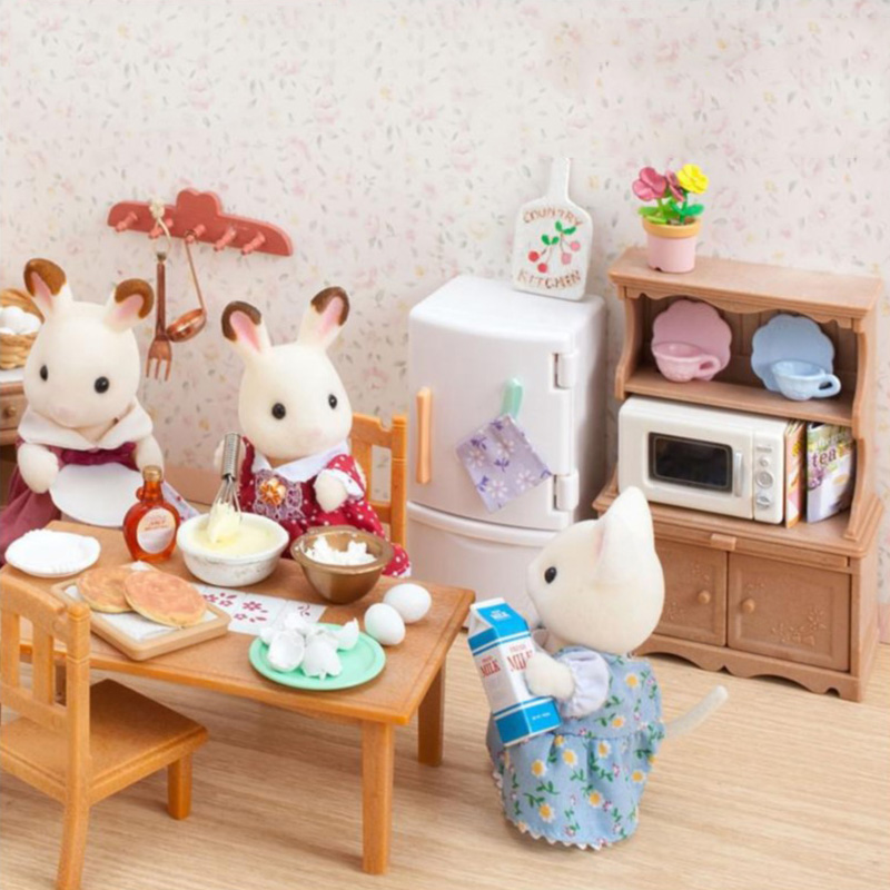 Sylvanian Families Tableware Set Sylvanian Families Cupboard Case GIRL'S Play House Model Kitchen Toy 5023