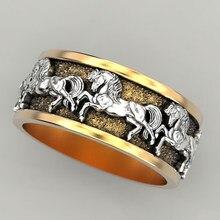 Moda gótico ouro cor animal anéis para homens cor de prata correndo cavalo redondo punk anéis para feminino festa jóias d5c299