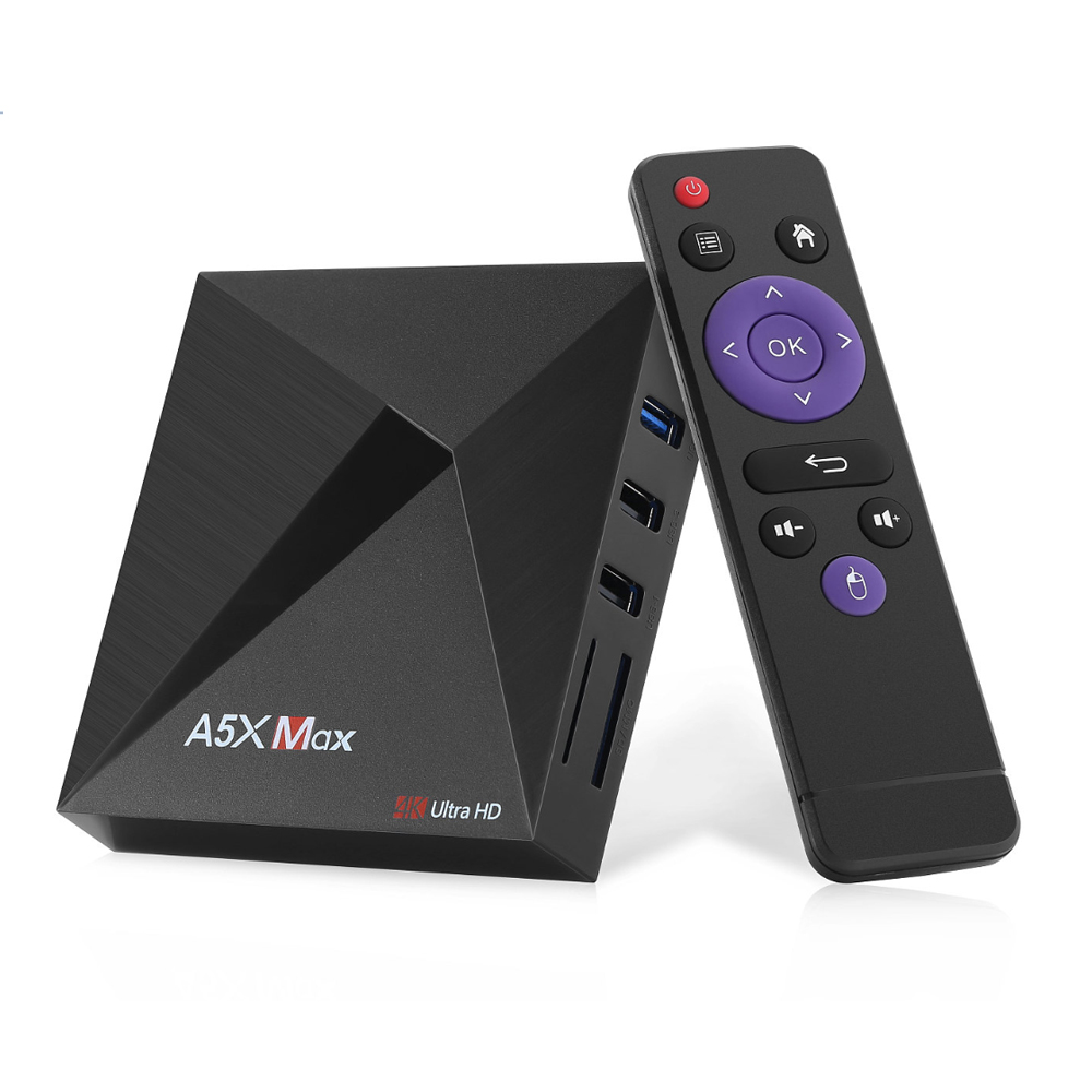A5x max android 9.0 rk3318 rockchip caixa de tv 4gb 32gb 2.4g wifi 1000m lan hd2.0 usb3.0 4 k vp9 hdr10 hlg mediaspeler