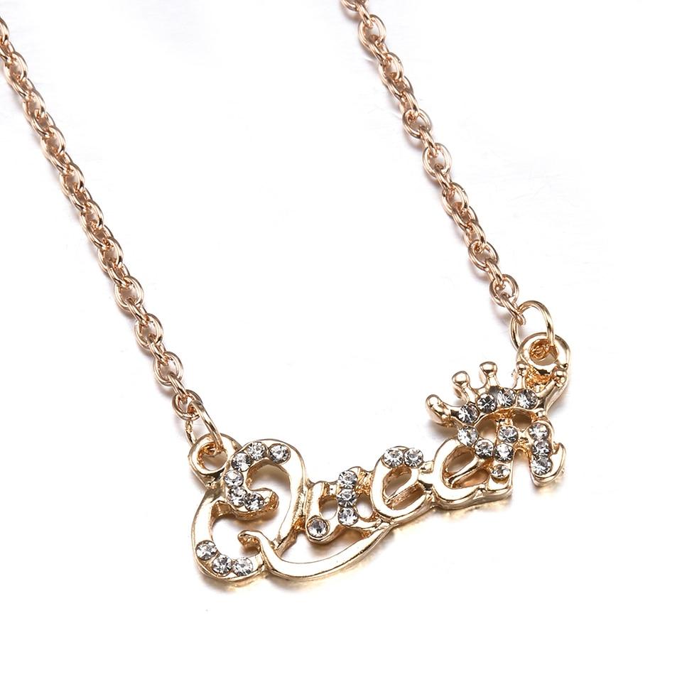 Fashion Elegant Letter Queen Pendant Shiny Rhinestone Clavicle Chain Necklace