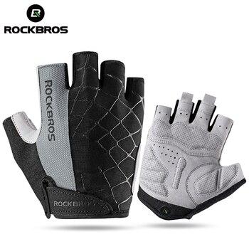 Rockbros luva de ciclismo antiderrapante, luva esportiva antisuor que cobre meio dedo, com tecido respirável e anti-impacto, mtb luva de bicicleta, 1
