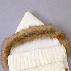 Image 5 - Baby Sleeping Bags Envelopes Swaddle Wrap Grey Hooded Newborns Girls Knitted Sleepsacks Winter Warm  Infantil Boys Stroller 0 6M