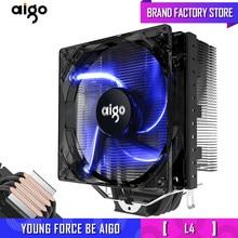 Aigo 120 мм 4-контактный вентилятор для процессора кулер для процессора 4 тепловых трубки кулер для процессора радиатор для AMD Intel 775/115/AM3/AM4 синий ...