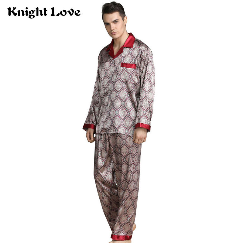 Mens Stain Silk Pajama Set Pajamas Men Sleepwear V-collar Cozy Soft Long Sleeve Nightgown Tops + Trousers Two Pieces Home Male