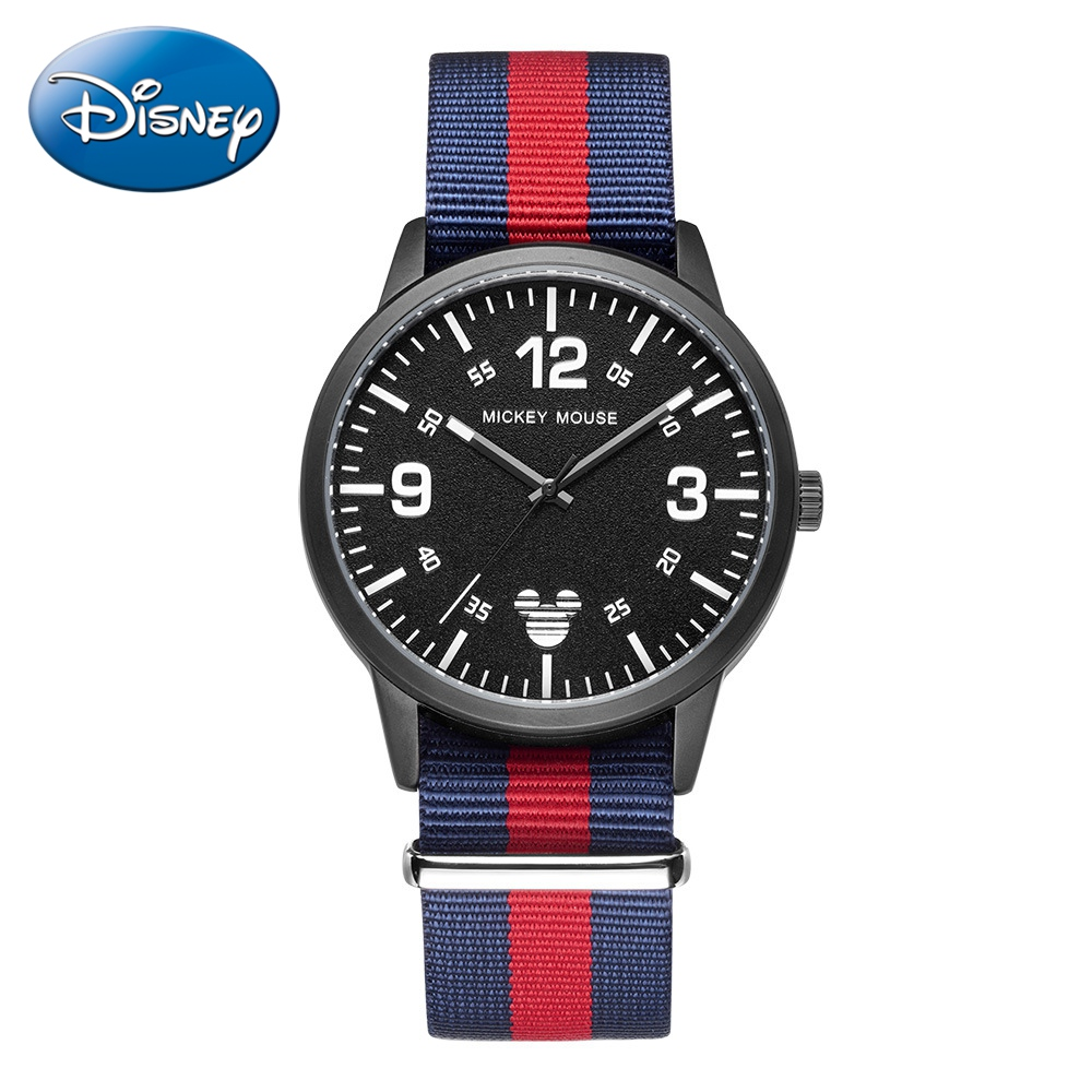 Mens Oil-pressure Nylon Band Waterproof Watch Mickey Mouse Teen Fashion Casual Quartz Watches Disney Student Clock Men Wacht New