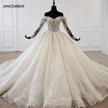 HTL1097 abito da sposa di vendita caldo 2020 manica lunga con spalle scoperte abiti da sposa in pizzo principessa in stile europeo e americano