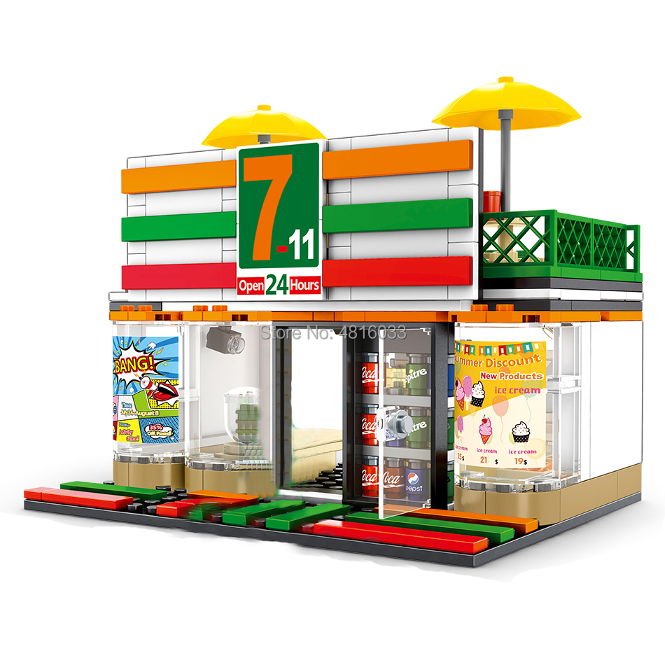 7-11 Convenience Store Compatible legoinglys City Mini Street View With Mini Figures Street Shop Building Block Toys Kids Gift