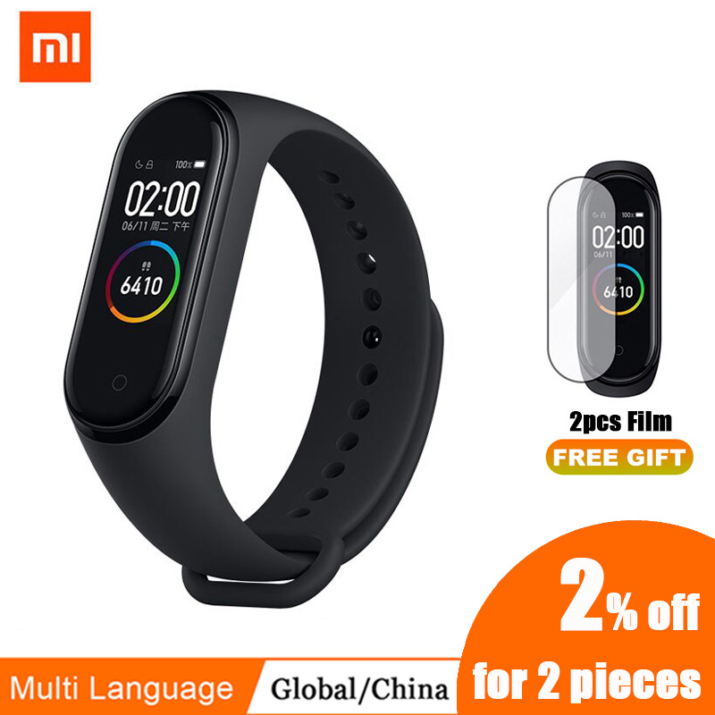 Xiaomi Screen Mi-Band Heart-Rate Bluetooth Fitness 4-Bracelet 3-Color 4-Original Music