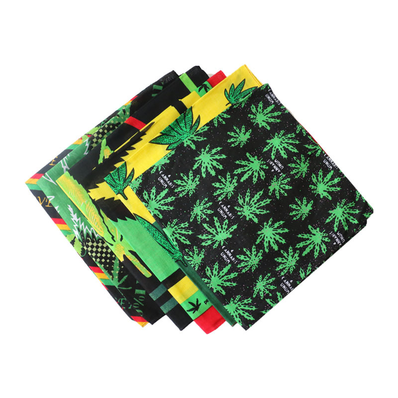Cotton Spring And Summer Street Hip-hop Headscarf For Men And Women Hijab Scarf Green Leaf Kerchief Scarves 55*55cm Weed Bandana