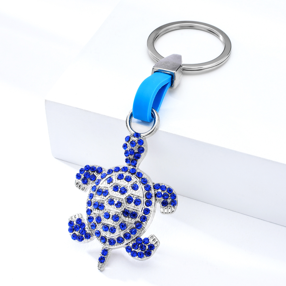 Vicney Tortoise Animal Pattern Zinc Alloy Key Chain Blue Gems Keychain Trendy Beach Fresh Style As Gift For Friend