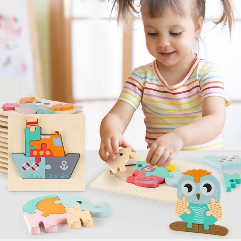 Baby Toys Wooden 3d Puzzle Cartoon Intelligence Kids Colorful Educational Developmental Toy Early Training Game