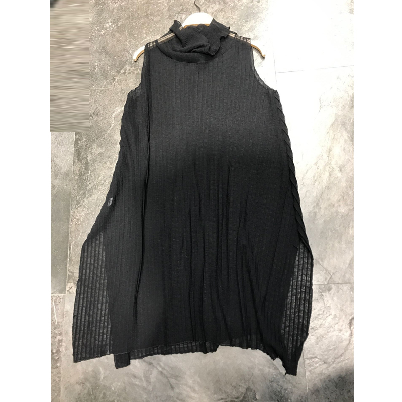 HEIßER VERKAUF Miyake mode ärmelloses turtleneck büro dame Leopard Perspektive dünne abschnitt falten lange T shirt AUF LAGER - 3