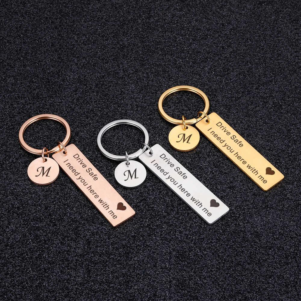 CUSTOM พวงกุญแจแกะสลักพวงกุญแจ A-Z 26 Initials Letter ไดรฟ์ไดรฟ์ไดรฟ์ไดรฟ์ปลอดภัย I Need You ที่นี่ ME สำหรับคู่ผู้ชายผู้หญิงของขวัญ