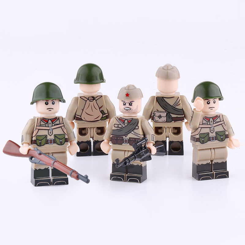 WW2 Military Soviet Army Soldier Figures Building Blocks Compatible Legoing Army Soldier Bricks Toys For Children Military Block