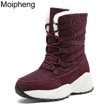 Moipheng buty damskie zimowe buty ciepłe buty na śnieg panie połowy łydki Plus rozmiar 42 buty na platformie kobieta Botas Mujer czerwone botki
