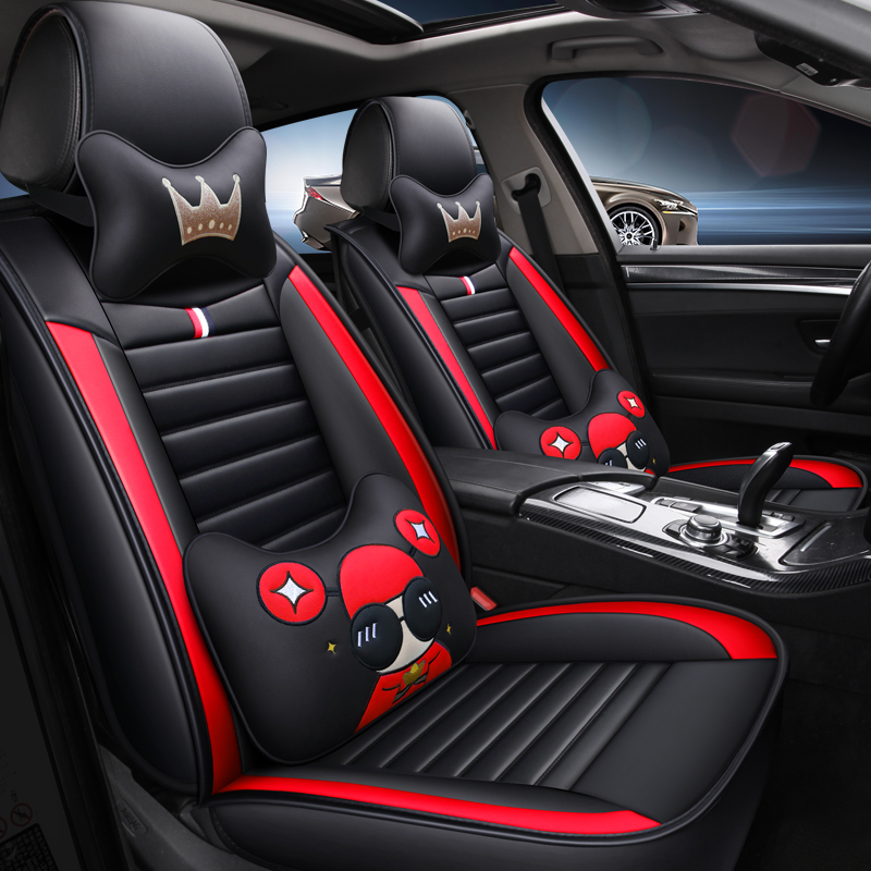 Cartoon Leather car seat cover for audi a3 8p a5 sportback a4 a6 a8 q3 q5 q7 all models car accessories auto styling