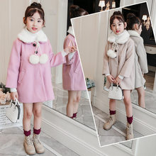 Get more info on the Pink Girls Winter Jackets Coats Imitated Mink Cashmere Kids Parkas Woolen Coat For Girls Outerwear Children Clothing 5-13Years