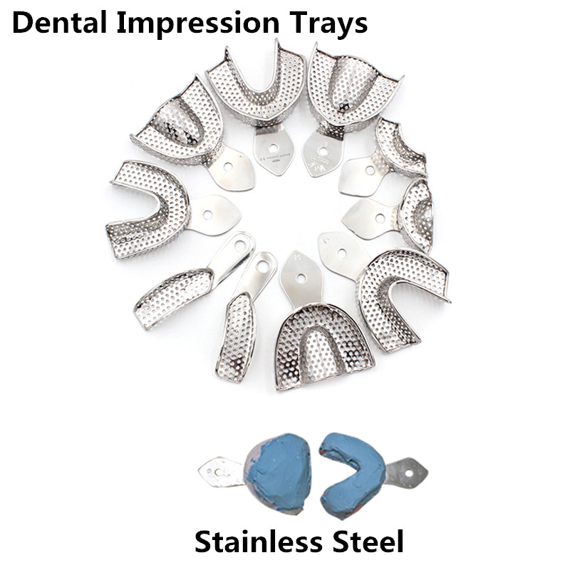 2Pcs/Set Dental Impression Tray Stainless Steel Teeth Tray Autoclavable Denture Instrument Trays Dentist Tools Lab Instrument