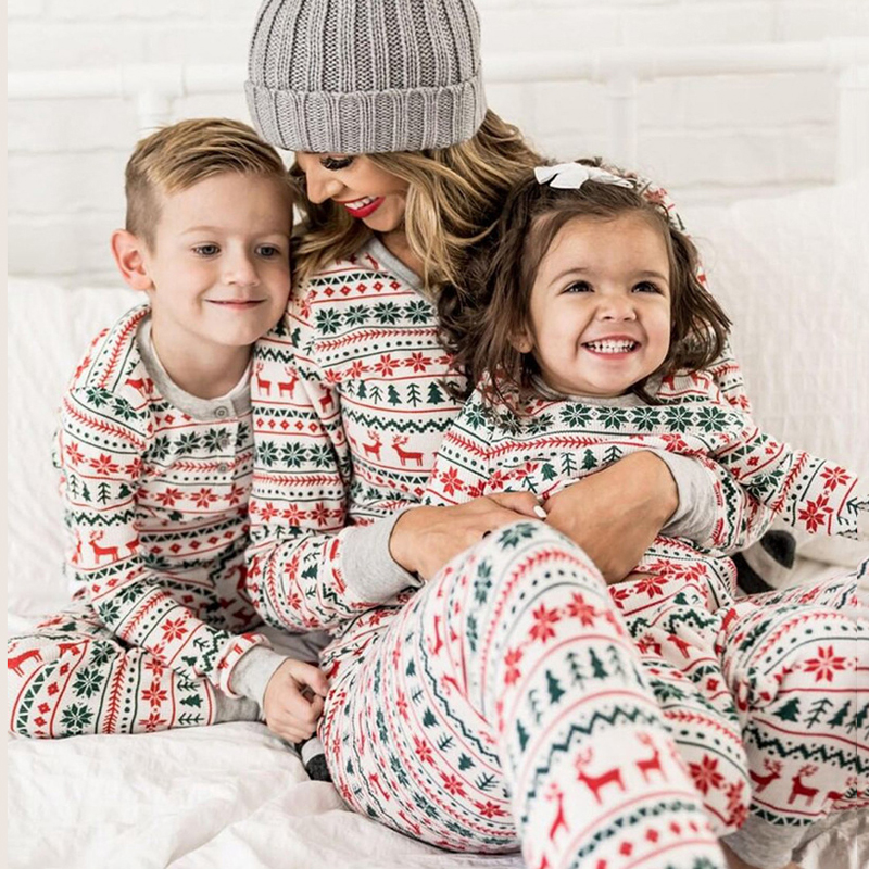 Lossky Family Christmas Pajamas Two Piece Set Pants Suit Plus Size Women Fall Parent-Child Outfits Festival Clothing Lounge Wear