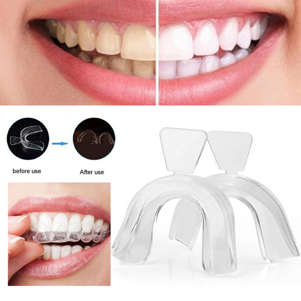 2Pcs Food Grade Silicone Thermoform Teeth Whitening Tray Dental Care Mouth Guard Teeth Orthodontic Retainer Trainer