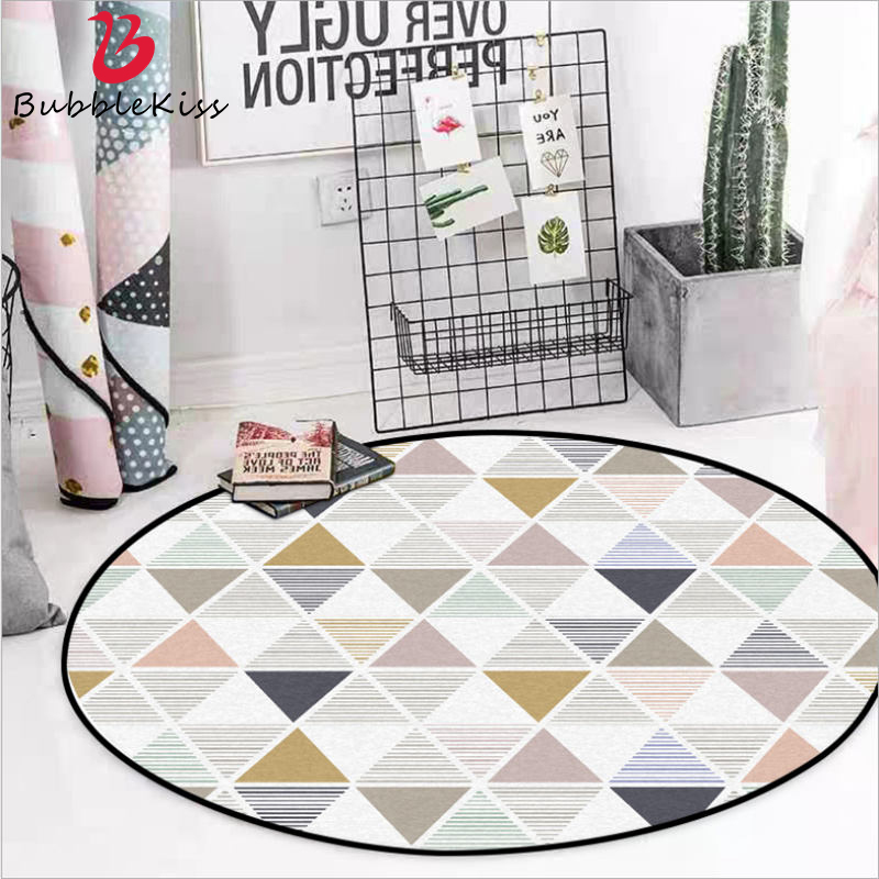 Round Carpets Fahsion Area Rugs For Children Rooms Nordic Black And White Yellow Striped Pattern Round Carpet 100 Polyester Carpet Aliexpress