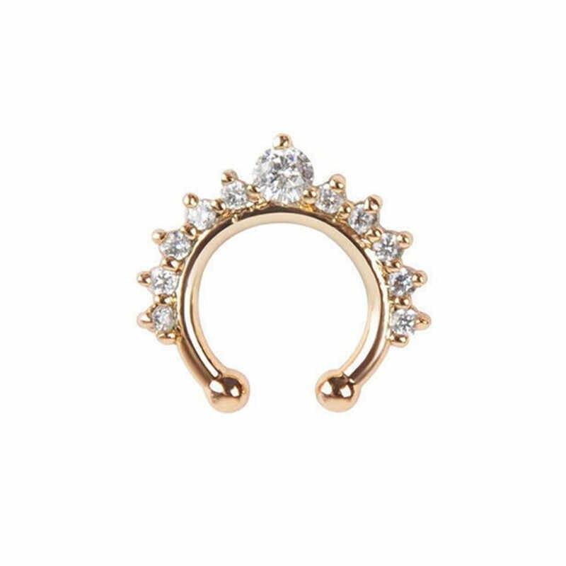 Wanita Kristal Palsu Ring Cincin Hidung Punk Hidung Klip Gadis Lubang Hidung Hoop Hidung Ring Cincin Perhiasan untuk Pesta